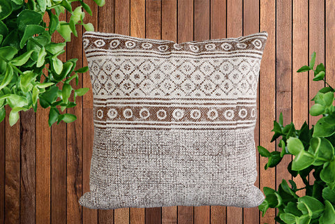 Brown Block Print Cotton Dari Cushion Cover 45cm