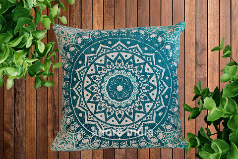Block Print Daisy Green Mandala Dari Cushion 50 cms