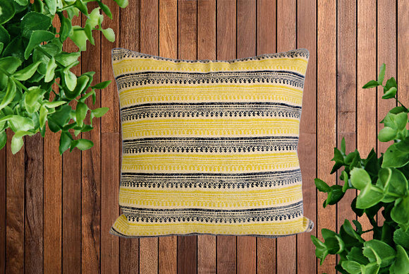 Mustard Stripe Block Print Cotton Dari Cushion Cover
