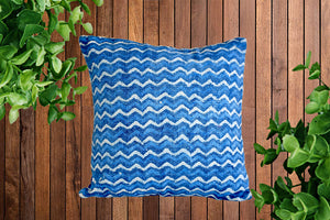 Indigo Zigzag Block Print Cotton Dari Cushion Cover 45cm