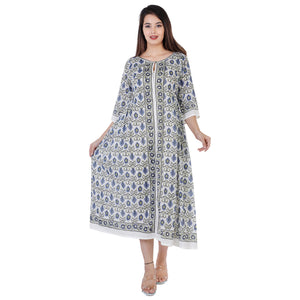 Cicely Hand Block Printed Soft Cotton Dress Maxi