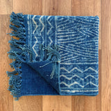 Handmade Stripe Block Print Indigo Cotton Dhurrie Carpet Runner