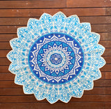 Handmade Blue Mandala Block Print Cotton Dhurrie Carpet Rug