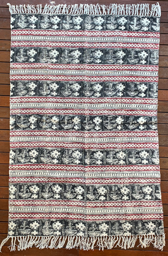 Handmade Beautiful Black Holy Block Print Cotton Dari Carpet