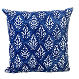 Royal Indigo Block Print Canvas Cotton Cushion Cover Pillow
