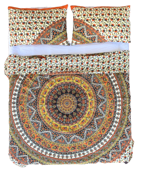 Vibrant Good Luck Orange Mandala Quilt Cover Set