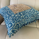Indian Hand Made Vintage Kantha Patch Work Pomom Cushion Cover 45cm-3