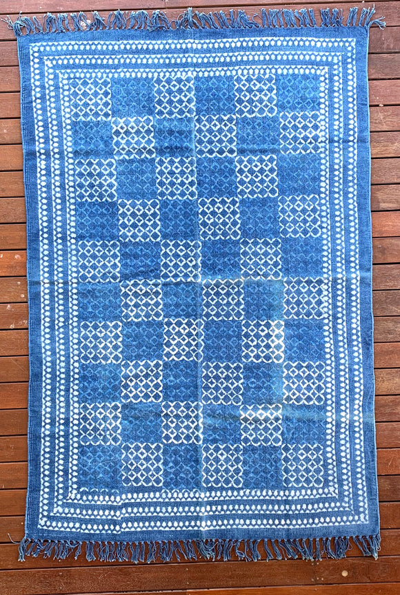 Handmade Geometrical Block Print Net Indigo Cotton Dhurrie Carpet
