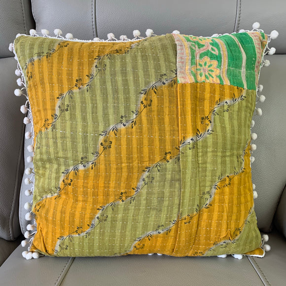 Vintage Kantha Pomom Cushion Cover 7