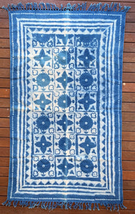 Handmade Geometrical Block Star Print Indigo Cotton Dhurrie Carpet