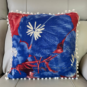 Vintage Kantha Pomom Cushion Cover 5