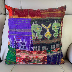 Silk Vintage Kantha Patchwork Cushion Cover 7