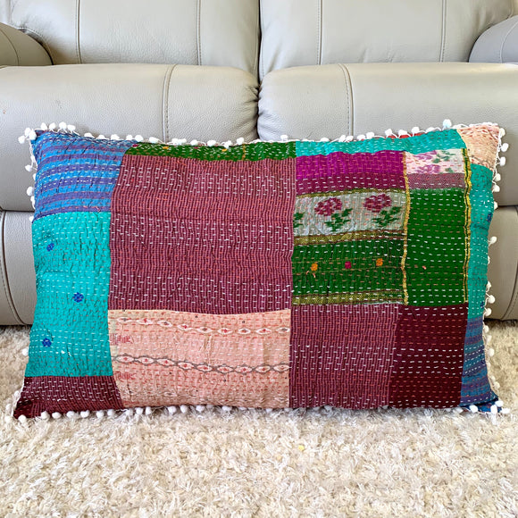 Silk Vintage Kantha Pompom Pillow Cover 7