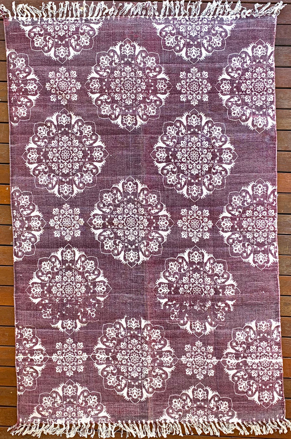 Handmade Burgundy Block Print Cotton Dari Carpet