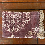 Burgundy Block Print Cotton Dari Carpet