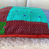 Silk Vintage Kantha Patchwork Pillow Cover 11