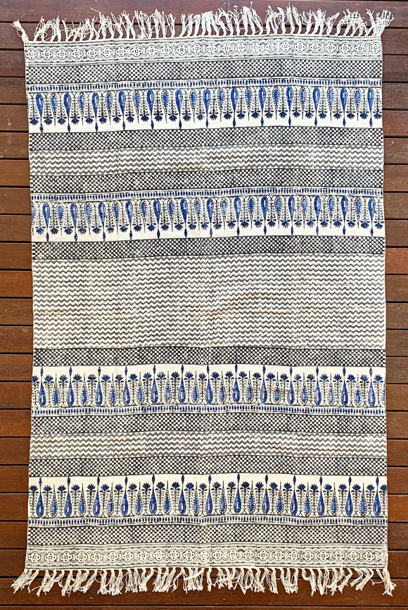 Handmade Beautiful Hand Made Tilak Indigo Block Print Cotton Dari Carpet