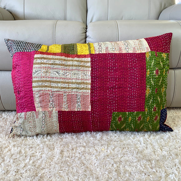 Silk Vintage Kantha Patchwork Pillow Cover 3