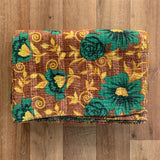 Indian Handmade Cotton Reversible Vintage Kantha Quilt Bedspread Throw Aashima