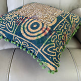 Indian Hand Made Vintage Kantha Patch Work Pomom Cushion Cover 45cm-B4