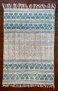 Handmade Olive Shiraz Block Print Cotton Dari Carpet