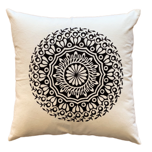 Black Mandala Cushion Cover