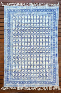 Handmade Beautiful Blue Block Print Cotton Dari Carpet Spirit