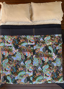 Indian Cotton Black Paisley Print Padded Quilt Bedspread