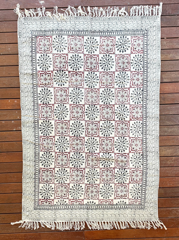 Handmade Beautiful Hand Made Shri Mandala Block Print Cotton Dari Carpet