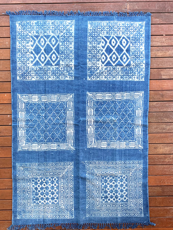 Handmade Geometrical Block Print Ikat Indigo Cotton Dhurrie Carpet