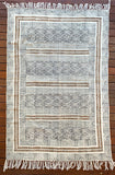 Handmade Beautiful Olive Block Print Cotton Dari Carpet
