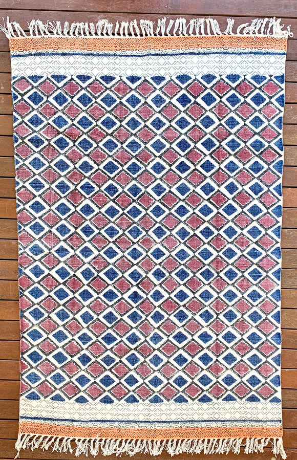 Handmade Beautiful Multi Ikat Block Print Dari Cotton Carpet