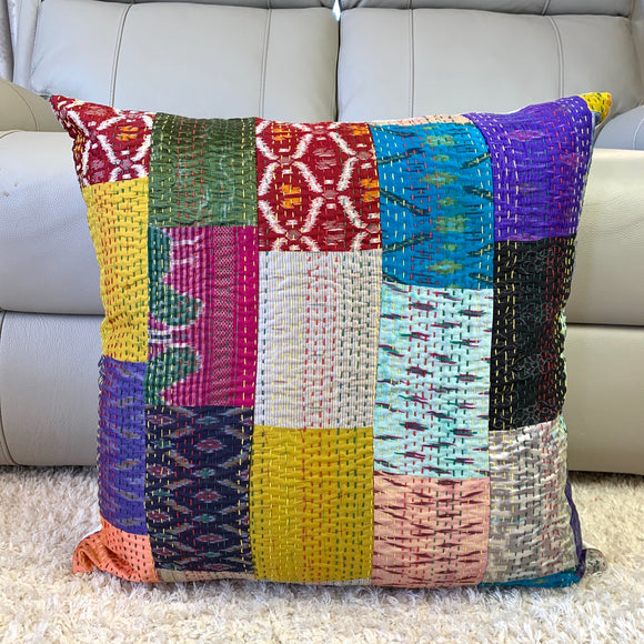 Silk Vintage Kantha Patchwork Euro Size 65cm Cushion Cover J15