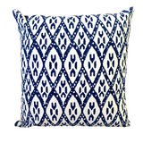 Indigo Ikat Block Print Canvas Cotton Cushion Cover Pillow