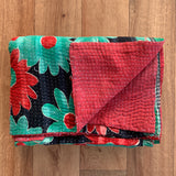 Indian Handmade Cotton Reversible Vintage Kantha Quilt Bedspread Throw- Amba