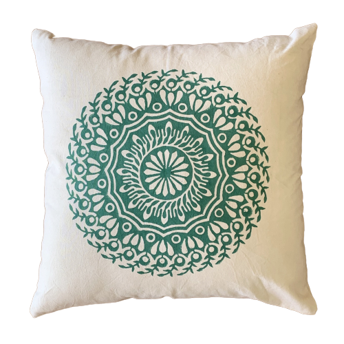 Green Mandala Cushion Pillow Cover