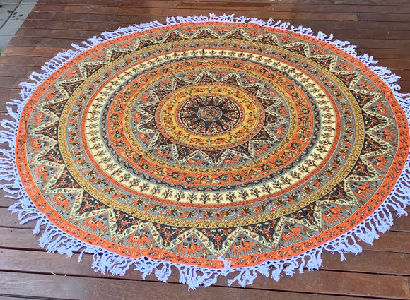 Good Luck Star Mandala Beach Round Throw