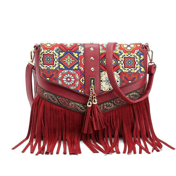 Charming Beautiful Bohemian Vintage Red Carry Bag