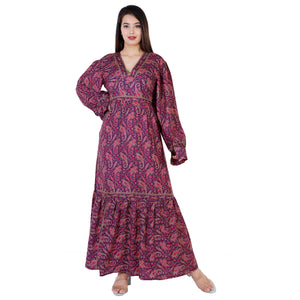 Mabel Purple Traditional Paisley Printed Bohemian Vintage Dress