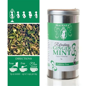 Organic Refreshing Ginger Mint Tea for Morning Sickness by Matraea