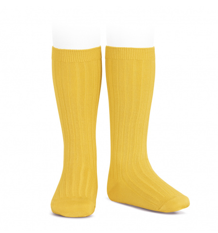 BASIC RIB KNEE HIGH SOCKS YELLOW 630