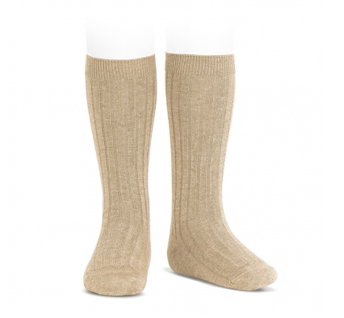 BASIC RIB KNEE HIGH SOCKS NOUGAT 316