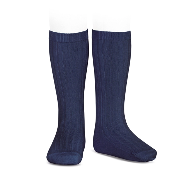 CONDOR RIB BASIC KNEE HIGH SOCKS 480 NAVY