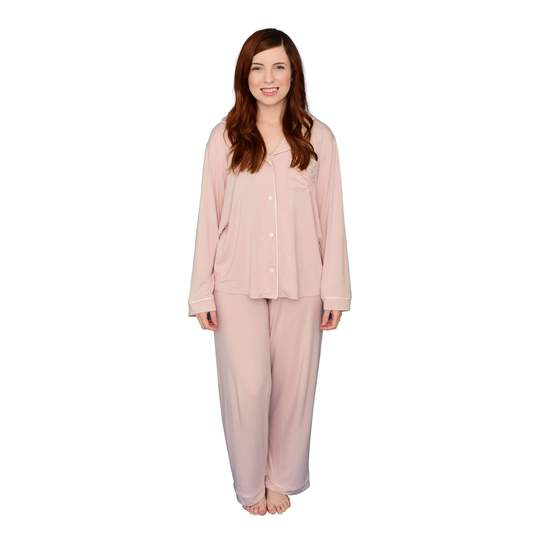 WOMEN'S PAJAMA SET IN BLUSH WITH CLOUD TRIM