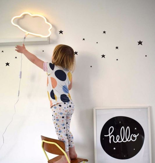 A Little Lovely Company Neon Style Light: Cloud - Yellow - LittleLeafBaby