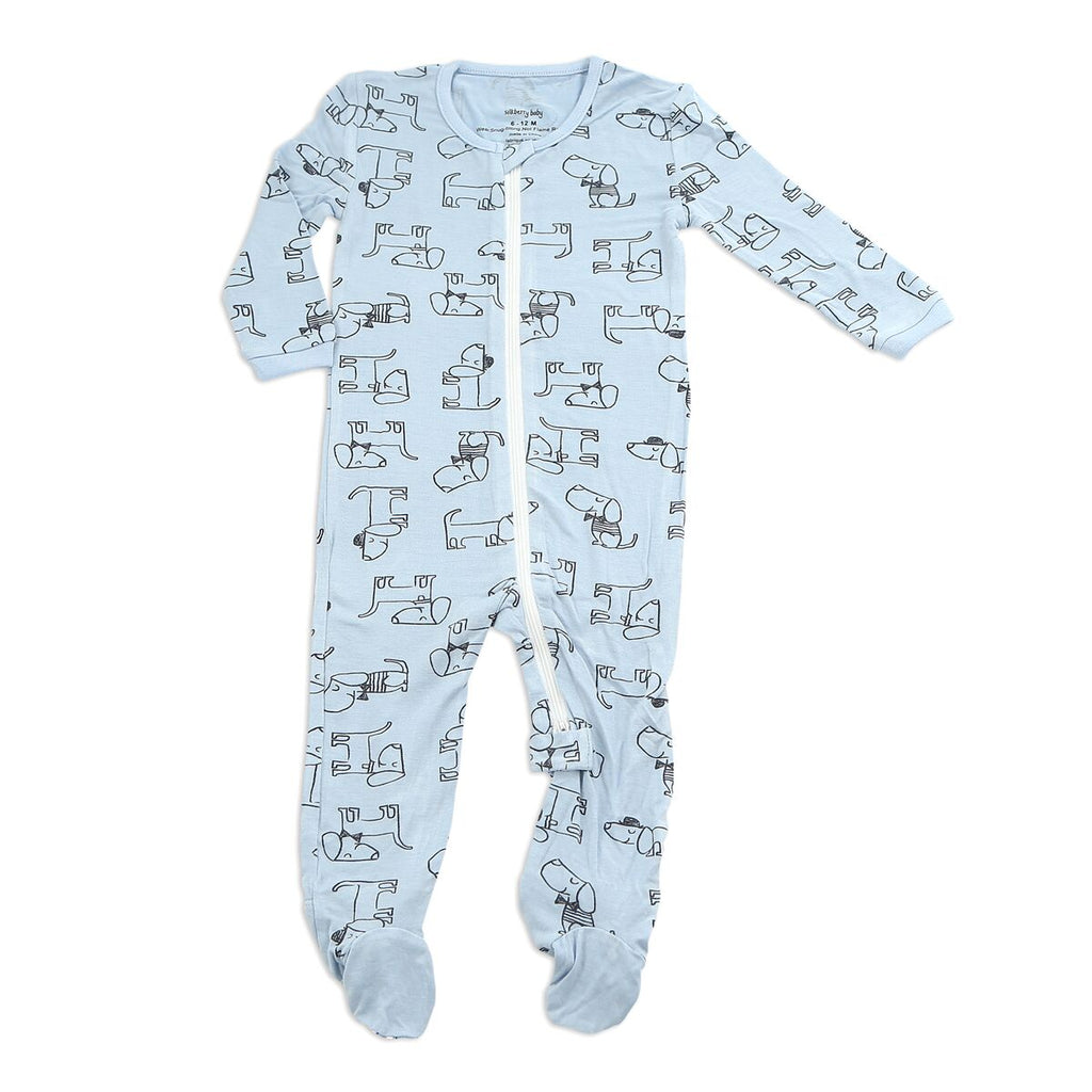 Silkberry dog Bamboo Printed Footies with Easy Zipper - LittleLeafBaby