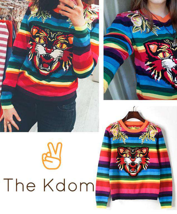Bts Quot Dna J Hope Quot Tiger Colourful Stripe Sweater The Kdom