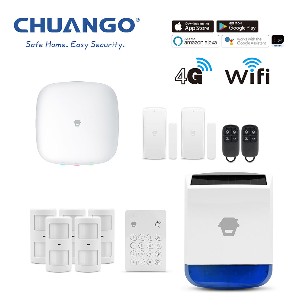 Chuango H4-LTE (WiFi & 4G) 'Premium' Wireless DIY Smart Home Security Alarm