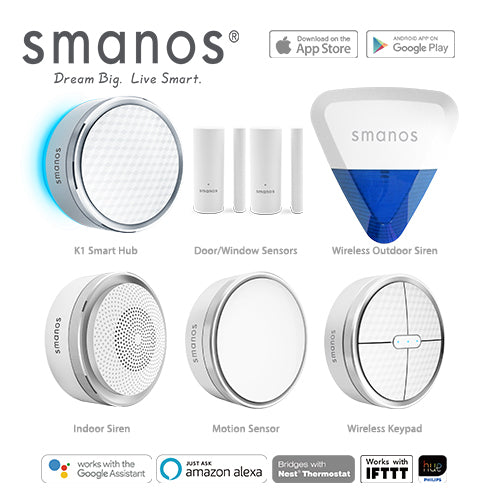 Smanos K1 Wireless Smart Home DIY Security Alarm & Wireless Outdoor Strobe Siren