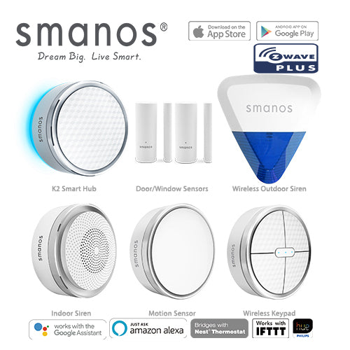 Smanos K2 (Z-Wave) Wireless SmartHome DIY Security Alarm & Wireless Outdoor Strobe Siren
